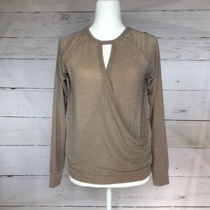 Rachel Roy Long Sleeve Shimmer Wrap Top XS